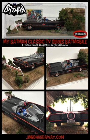Display for my 1/25 scale Batman Classic TV Series Batmobile model. I made the Batcave and props using styrofoam, paint, glue, popsicle sticks, and model train scenery materials. Includes an actual rock from the Batcave film location!! Holy-Detail, Batman!!
