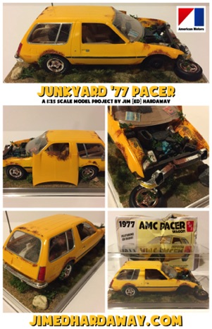"My 1/25 scale ""junkyard"" '77 Pacer model... Nicknamed because it arrived so damaged (a dozen+ broken pieces) in the mail that I built it wrecked. Gave it the ""crashed"" feel using a rotary tool, rust-colored paint, glue, and scenery materials."