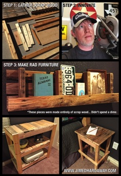 Scrap Wood Furniture. These pieces were made ENTIRELY from scrap wood and materials in my garage—I didn't spend a dime. Furniture for our guest room included a pallet shelf, TV stand/shelves, and end tables.