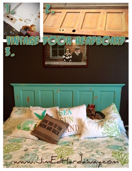 Vintage Door Headboard. Take one vintage door, strip and sand off decades of paint layers, add some molding on the top, and resurface with chalk paint. The result, a great-looking headboard that works well with many themes (*Yorkie not included).