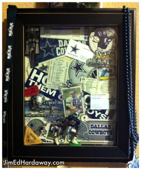 Dallas Cowboys Collection Shadow Box. This box displays some of my Dallas Cowboys keepsakes. The box is big enough to display a small pennant, stickers, a small action figure, buttons, trading cards, ticket stubs, and more!