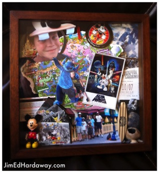 Disney World Vacation Shadow Box. This box is some of our keepsakes from a family vacation to FL. I kept the box in mind and picked smaller items to put inside… A park map, ticket stubs, photos, pins, and sea shells from the beach.