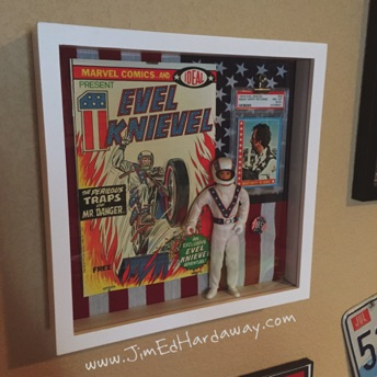 Evel Knievel Smalls Shadow Box. This box displays and protects a few of my Evel Knievel collectables including a vintage comic book ('74), trading card ('74), and action figure ('72).