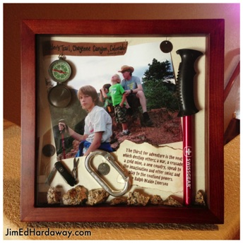 Hiking Trip Shadow Box. The photo is my sons and I on the summit of one of the first trails we hiked in CO. I cut and fit the actual hiking pole my son is holding. There are rocks from the trail, a compass, and a piece of leather with the info on it, etc.