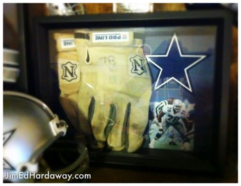 Leon Lett Gloves Shadow Box. Sports memorabilia is an obvious choice for a shadow box. It keeps people from touching and they're great visuals. This box displays a pair of Leon Lett's game-worn gloves (former def lineman for the Cowboys).