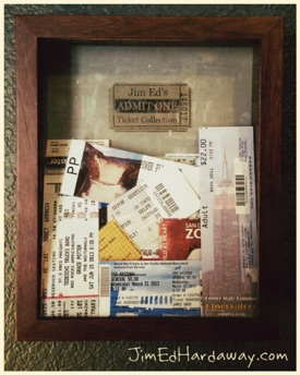 Ticket Collection Shadow Box. Finally got around to making one of these and it's a great way to display all the tickets I've saved from concerts, shows, and events I've attended over the years.